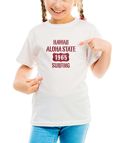Billion Group | Hawaii Aloha | City Collection | Girls Classic Crew Neck T-Shirt Bianco Large