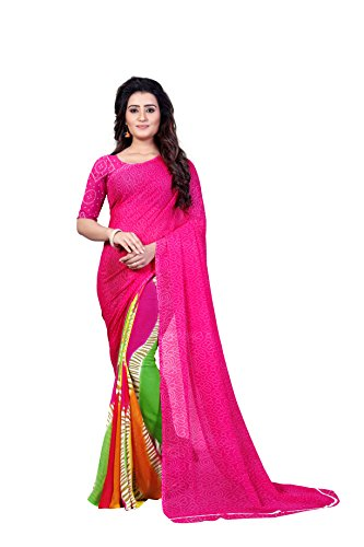 Anand Sarees Women's Faux Georgette Printed Pink Color With blouse piece (...