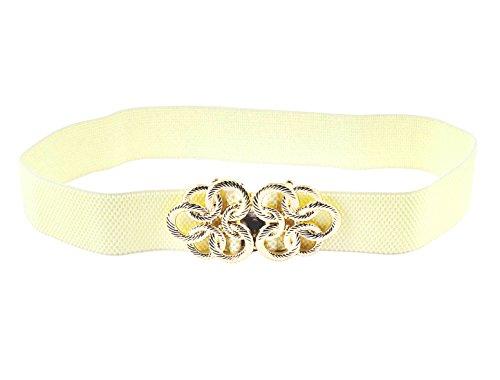 Ring Cinch-gürtel (Damen Goldton Ineinandergreifende Schnalle Elastischer Gürtel Mit Halteschelle Bund Beige - Beige,Goldton, Damen, One size)