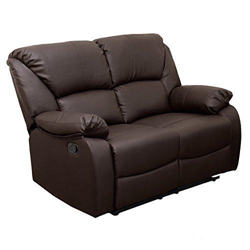 Sibrand divano poltrona 2 posti 100% ecopelle reclinabile arredo casa design