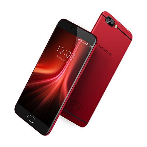 Telephone Portable Debloqué,UMIDIGI Z1 PRO Smartphone 4G Android 7.0, Dual SIM, écran 5.5 pouces AMOLED avec verre Gorilla glass 4 ,6 GB RAM e 64 GB ROM GPU ARM Mali - T880 MP2 900 MHz, Double caméra 13MP/5MP, Reconnaissance d'empreintes digitales in 0,1 s (Rouge-6,95mm)