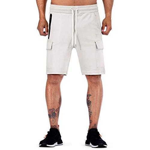 Sannysis Herren Cargo Shorts Sommer Bermuda Kurze Hose Männer Running Fitness Gym Sport Pants mit Kordelzug Training Lässige Designer M-XXL (M, Weiß)