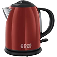 Russell Hobbs Elegante Colours Plus Bollitore, Ebollizione in 50 sec., Spegnimento Automatico, 2200 W, 1.7L, 4 Tazze, Acciaio Inox, Rosso