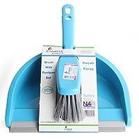 Zambak Dustpan and Brush Set Home Cleaning Supplies Rubber Scoop Light Weight (Blue)