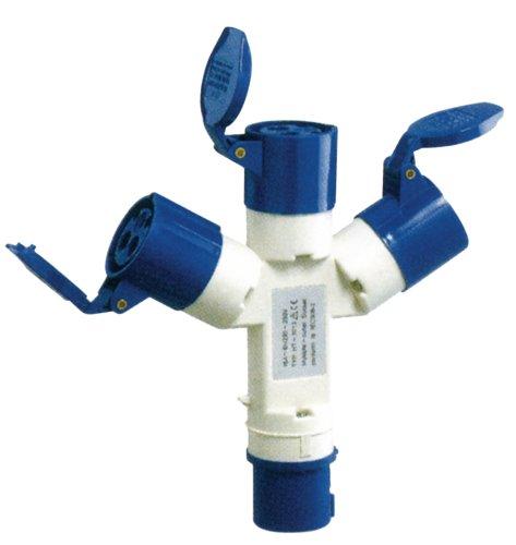 CEE Verteiler 16A - 230V Kontakt High Current Splitter Blau Verteilerdose