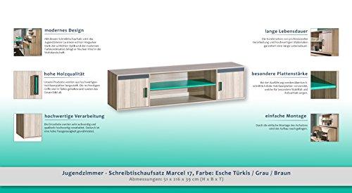 Jugendzimmer - Schreibtischaufsatz Marcel 17, Farbe: Esche Türkis / Grau / Braun - Abmessungen: 51 x 216 x 39 cm (H x B x T) - 2