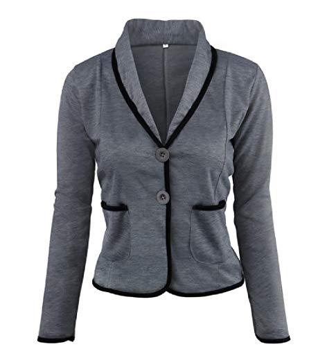 CuteRose Women Tops Outwear Short Blazer Wild Oversized Blazer Jacket Coat Dark Grey 4XL Double Breasted Tweed Coat