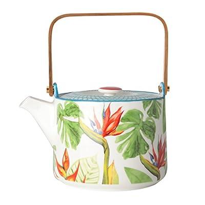 Théière en porcelaine décor tropical 70cl - PARADISO - Bruno Evrard