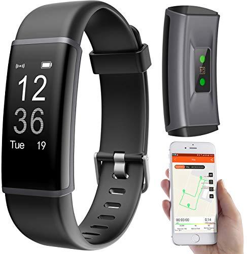 PEARL Sportuhr: Fitness-Armband, GPS-Streckenverlauf, Puls, 13 Sportarten, App, IP67 (Fitnessarmbänder)