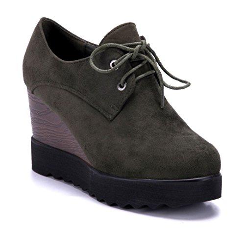 Schuhtempel24 Damen Schuhe Ankle Boots Stiefel Stiefeletten grün Keilabsatz 9 cm