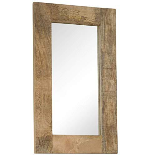 mewmewcat Spiegel mit Rahmen Wohnzimmer Wandspiegel Badspiegel Schlafzimmer Spiegel Spiegel Flur Massives Mangoholz 50 x 80 cm