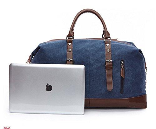 Happytimebelt 53,8cm Trim Weekender borsa da viaggio, borsone in tela, Coffe ArmyGreen