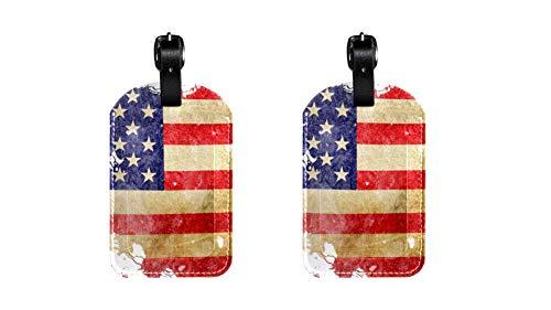 Amerikanische Flagge 2 Gepäckanhänger für Frauen oder Kinder, süße Figur Design für Reisen Wandern Business Camping Schule, Kofferanhänger für Koffer Gepäck persönliches Etikett (2er Pack)