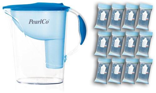 PearlCo - Wasserfilter Standard (blau) mit 12 classic Filterkartuschen - passt zu Brita Classic