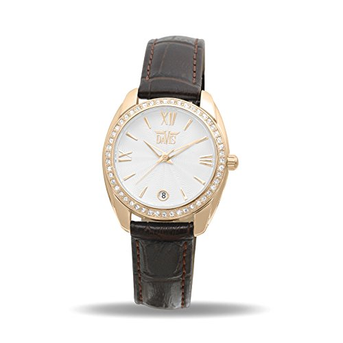 Davis 2026 - Womens Crystal Watch Rose Gold Case Clear Swarovski Rhinestones White Dial Date Brown Leather Strap
