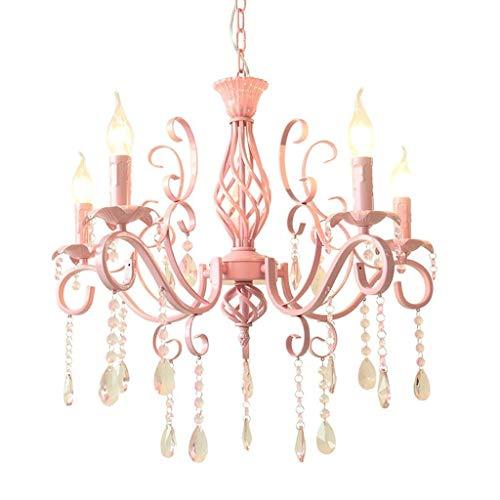 CTO Gbyzhmh 5 Heads of Crystal Chandelier Pink im europäischen Stil mit schmiedeeisernem Kronleuchter Kerzenlicht Kinderzimmer-Beleuchtung Princess Clothing Store Lounge das Schlafzimmer beleuchtet d -