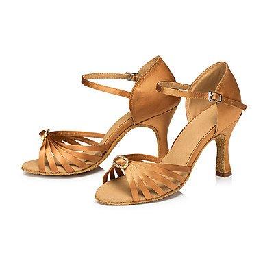 Scarpe da ballo-Personalizzabile-Da donna-Balli latino-americani / Moderno / Salsa-Tacco su misura-Raso / Di pelle-Dorato / Altro Gold