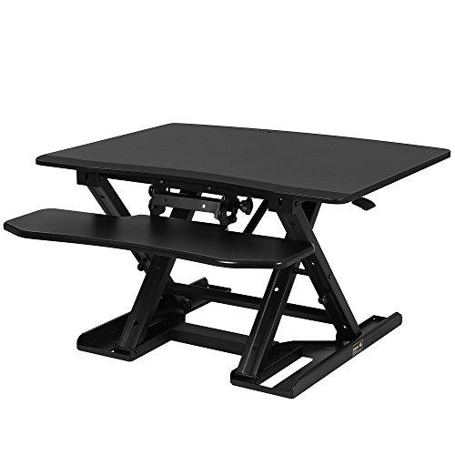 SONGMICS Sitz-Steh-Schreibtisch höhenverstellbarer Aufsatz Laptop-Ständer Monitorständer Schnell zum Stehen einstellen abnehmbaren und winkeleinstellbaren Tastaturablage schwarz LSD08B