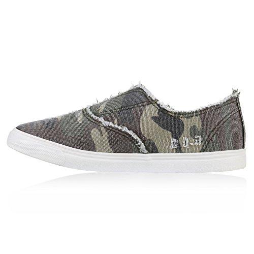 Damen Sneakers Camouflage Schnürer Prints Freizeit Schuhe Camouflage Grün