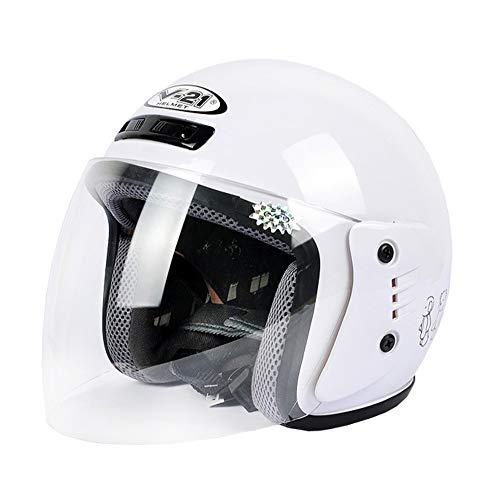 Elektrische Motorradhelm Jungen Und Mädchen Kleine Helme Batterie Auto Vier Jahreszeiten Cartoon Jugend Half Helm (Color : Weiß) - Batterie-autos Mädchen Für