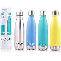 Moon Bottle – Vacuum Insulated, Double Walled Stainless Steel Water Bottle - 24 Hours Cold & 12 Hours Hot - 500ml – BPA Free Cool Cycling Swell Drink Bottles. Non Leak Sports Water and Drinks Bottles