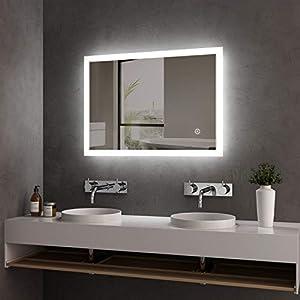 LED Badspiegel Lichtspiegel 50 x 70 cm Badezimmerspiegel Wandspiegel Spiegel mit Beleuchtung Kaltweiß Lichtspiegel mit Touchschalter + Beschlagfrei IP44 Energiesparend