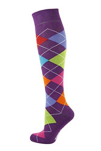 MySocks Hommes Femmes Genou Haute Chaussettes,7 Color Violet,36-41