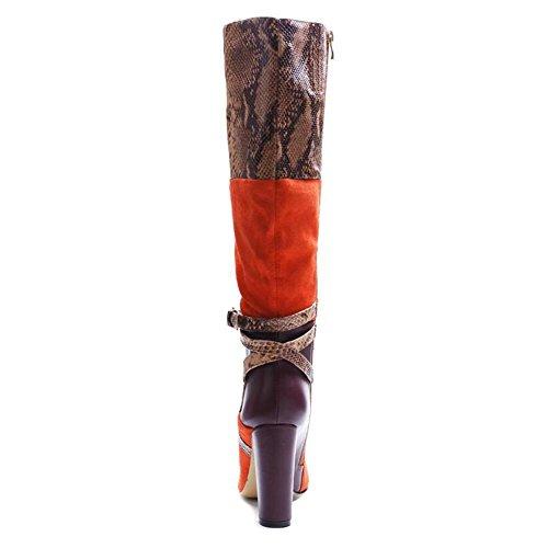 L@YC Stivali Lunghi Donna Camoscio Pelle Serpente Lotta Stivali Con Tacco alto Con Spessore a Punta A