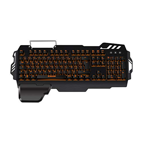Konix WoT K-50 - Clavier Gamers AZERTY Retro Éclairé Orange - Anti Ghosting - Clavier Semi-Mecanique Gaming Pour PC, Mac - Repose Poignet - Clavier Gamer LED Filaire