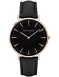 Brand Joeson Leaders Damen Quarzuhr, Lederband, Grau Uhren Herren Armbanduhren