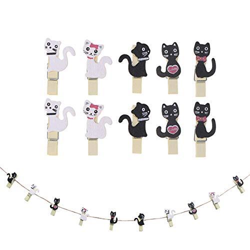 Toyvian Mini Holzklammern mit Schnur Holz Wäscheklammern Zierklammern Deko Klammern für Fotos Fotowand Fotoleine Basteln DIY 10 Stücke(Katzen)