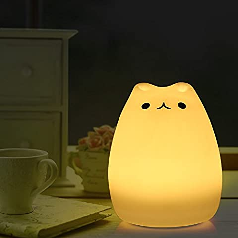 Silicone Cat Bedside Lamp Color Changing Night Light