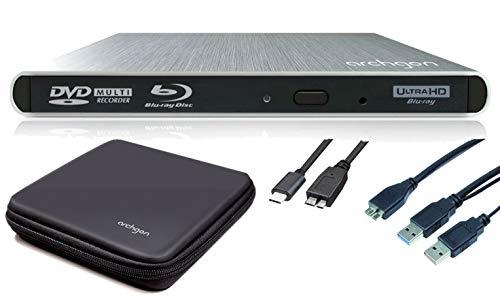 Archgon Stream UHD Externer 4K-Ultra HD BD Player, Blu-ray BDXL Brenner für PC USB 3.0 USB-C, M-Disk, Tray Load disc Drive, Schutzbox, Alu Silber