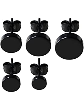 Gosear 5 Stk Mode Männer Titan Stahl Stud Ohrringe 5 Verschiedene Größen Ohrringe Satz Zubehör für Geburtstag...