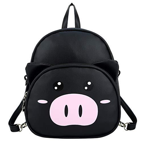 Mitlfuny handbemalte Ledertasche, Schultertasche, Geschenk, Handgefertigte Tasche,Cartoon Nettes Schwein Kindergarten Kinder Tasche Mode Rucksack Flut Junge Rucksack