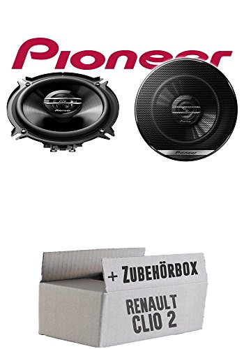 Lautsprecher Boxen Pioneer TS-G1320F - 13cm 2-Wege 130mm PKW Koaxiallautsprecher Auto Einbausatz - Einbauset für Renault Clio 2 Front Heck - JUST SOUND best choice for caraudio