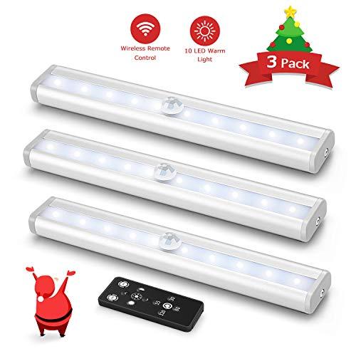 3er LED Unterbauleuchte für Küche, Fansteck Dimmbare Panel Schrankleuchte mit Fernbedienung, Batteriebetrieben Kabinett Nachtlicht mit Magnetstreifen für Schrank, Treppen, Garage, 4000K Warmweiß