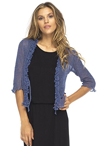 Back From Bali Womens Sheer Shrug Cardigan Sweater Ruffle Lightweight Knit Jeans Blau