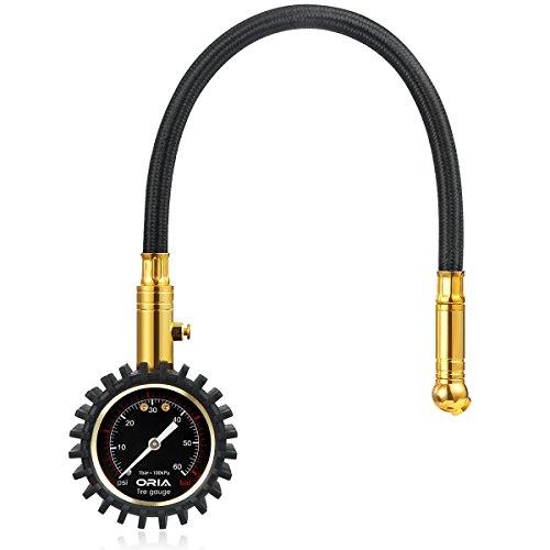 Preisvergleich Produktbild Oria Flexi-Pro Reifendruck Messgerät Manometer Premium für Auto, Kfz, Motorrad LKW, und Fahrrad (60 PSI/4 BAR)