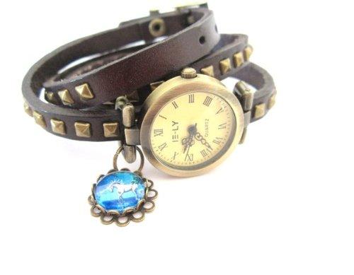 Einhorn Wickel- Leder Armbanduhr Wickeluhr