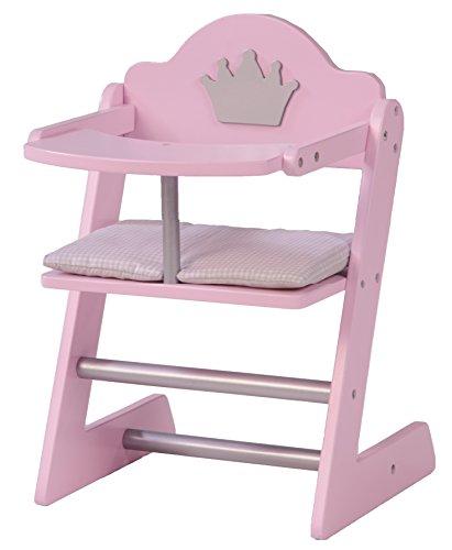 *roba Puppenhochstuhl, Puppenmöbel Serie 'Prinzessin Sophie', Puppenstuhl für Puppen und Babypuppen, Puppenzubehör, rosa/silber mit Krone*