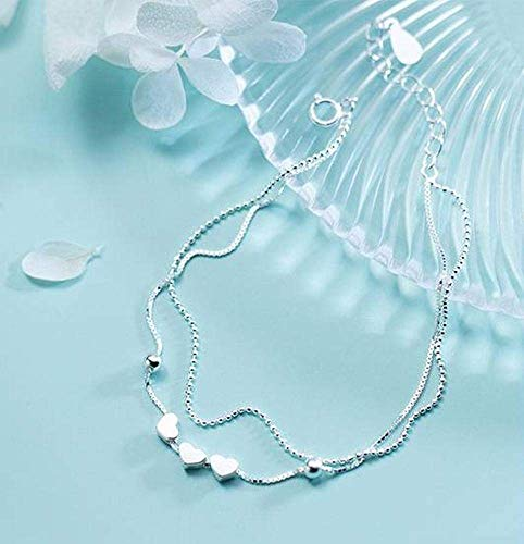 Ibuprofen Armreifen Armbänder S925 Silber Armband Weibliche Kleine Doppelte Liebe Armband Niedliche Herzform