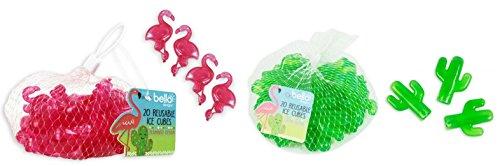 Wiederverwendbar Ice Cubes 40Stück Ideal für hält Getränke kühl- und Gefrierschrank Cool Bag Cactus Flamingo Picknick BBQ Partygeschirr-Eiswürfelformen Cocktail Party - Cool Flamingos
