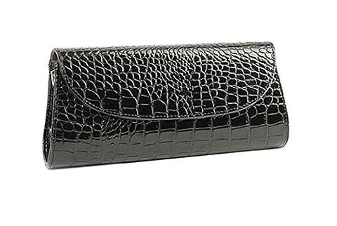 Damen neue stilvolle Designer-Leder-Look Hardcover flapover schwarze Handtasche in Hüllkurvenform, Baguettes Tasche