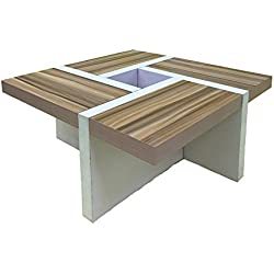 Mesa de Centro moderna bicolor de madera, Blanco marrón claro