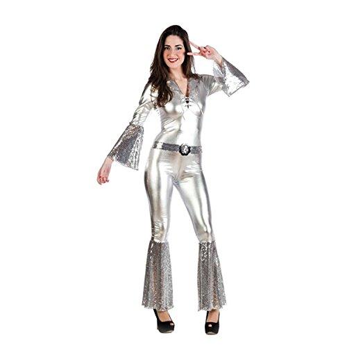 Disco Lady - costume da donna per travestimento - tuta intera in stile anni '70 - carnevale e feste a tema - argento - M
