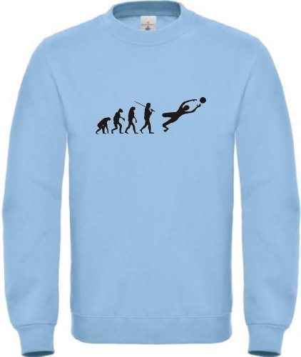 Sweatshirt Evolution Torwart Fussball, Farbe hellblau, Größe S (Affe Kinder-sweatshirt)