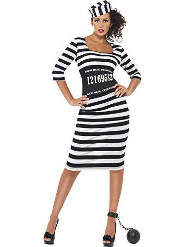 Party-Teufel Komplett Kostüm Damen Sträflingskleid mit Kappe Gürtel und Fusskugel Größe M Sträflingskostüm Sexy Frauen Sträfling Knasti
