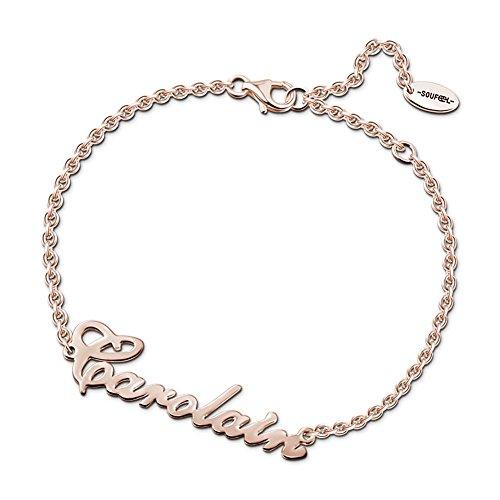 Soufeel Personalisierte Armband Armreif mit Namen Gravur 925 Sterling Silber/14K/Rósegold plattiert Geburtstag Geschenk für Frau Mama und Mädchen (Armbänder Mit Namen Graviert)