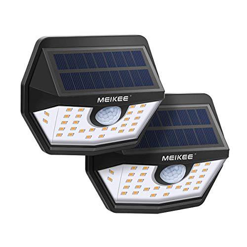 Solarleuchte für Außen MEIKEE 30LED Solarlampe mit Bewegungsmelder 200° Superhelle Solarleuchte Aussen 1800mAh Solarlicht IP65 Wasserdichte Wandleuchte für Garten Patio Garage Terrasse Warmweiß 2Stück